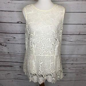 Cabi white lace peplum top